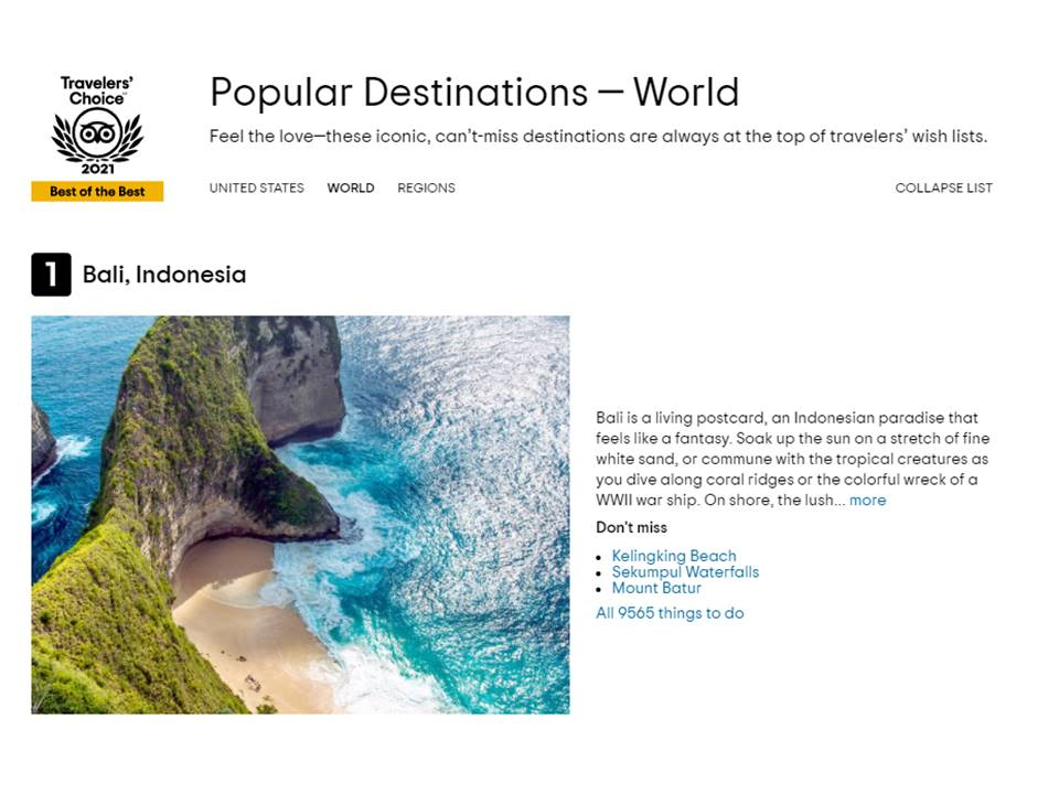 Bali Jadi Destinasi Wisata Paling Populer 2021
